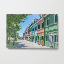 Colorful houses on the island of Burano, Italy Metal Print