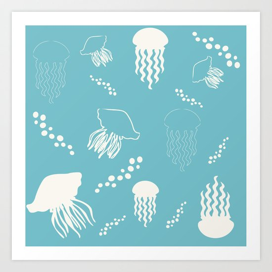 Jellyfish blue Art Print