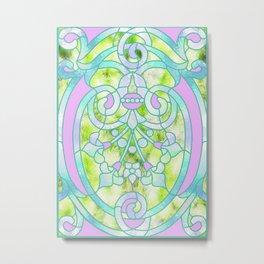 Art Nouveau Lime Green and Pink Batik Design Metal Print