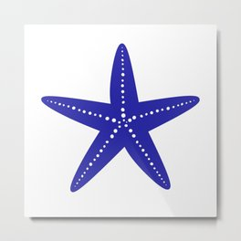 Starfish (Navy Blue & White) Metal Print