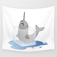 narwhal Wall Tapestries featuring Narwhal in Distress by nicfit