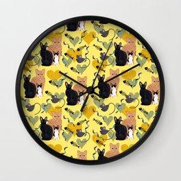 Rex Cats Yellow Wall Clock