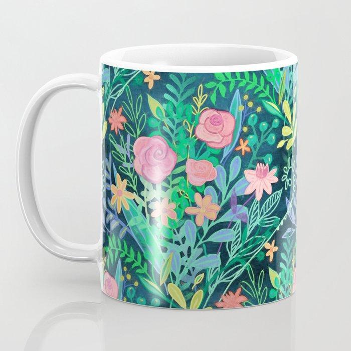 Roses + Green Messy Floral Posie Coffee Mug