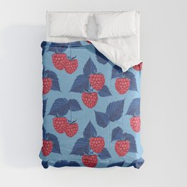 Raspberry on blue background Comforters