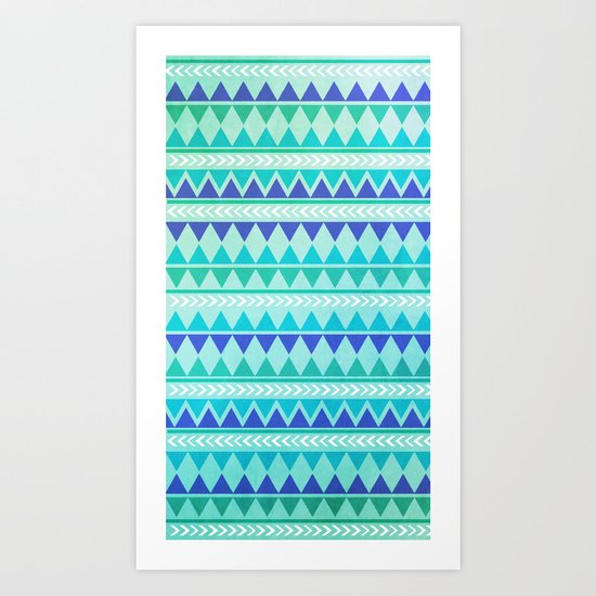 Winter Aztec Pattern Art Print