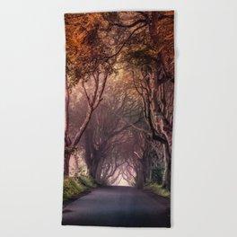 Autumn alley in Northern Ireland Beach Towel
