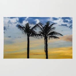 Palm Trees against Sunset Sky Rug