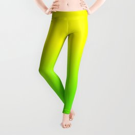 Neon Yellow and Neon Yello Green Ombré  Shade Color Fade Leggings