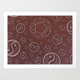 Burgundy brooches Art Print