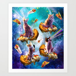 Outer Space Cats With Rainbow Laser Eyes Riding On Pizza Art Print