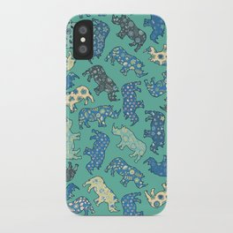 Rhino Patchwork Pattern - emerald & blue iPhone Case
