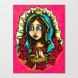 Lady Of Guadalupe (Virgen de Guadalupe) PINK VERSION Canvas Print
