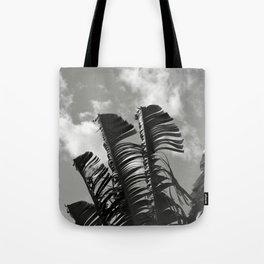 banana leaves, black and white Tote Bag