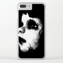 Creepy Doll Face Clear iPhone Case