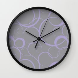 Funky Ring Pattern V11 Pantone's 2021 Color of the year Ultimate Gray 17-5104 and Lavender 15-3817 Wall Clock