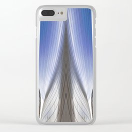 Architectural Abstract of a metal clad building looking skyward Clear iPhone Case