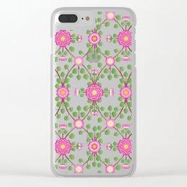 Wild Rose Garden Pattern Pink Clear iPhone Case