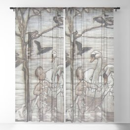 """""""Baby and the Swans"""" by Arthur Rackham Sheer Curtain"""