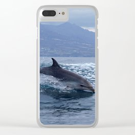 Wild and free bottlenose dolphin Clear iPhone Case