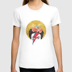 Frida Bowie White X-LARGE Womens Fitted Tee
