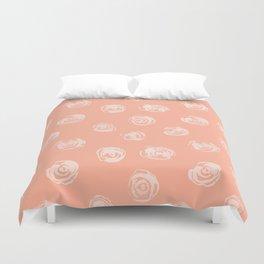 Sweet Life Rosebud Peach Coral Pink Duvet Cover