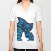 cheshire cat V-neck T-shirts featuring Cheshire cat by trevacristina