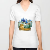 castle V-neck T-shirts featuring Castle by Irina  Mushkar'ova