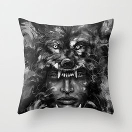Empress Wolf Throw Pillow