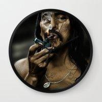 danny haas Wall Clocks featuring Danny Trejo by Duke78