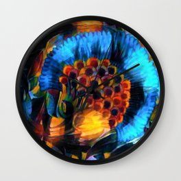 Berry Cluster, Blue Twilight abstract portrait painting by Prefect Severino Wall Clock