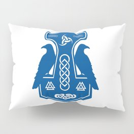 Blue Thor's Hammer With Ravens Pillow Sham
