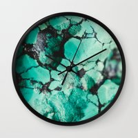 turquoise Wall Clocks featuring Turquoise  by Laura Ruth