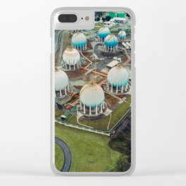 Aerial view of Gas storage tanks Clear iPhone Case