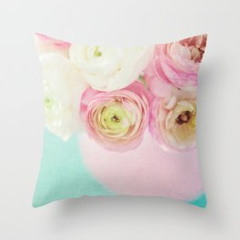 Ranunculas on Teal Throw Pillow
