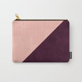 Modern blush pink burgundy watercolor color block geometric Carry-All Pouch