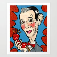 pee wee Art Prints featuring Pee Wee Herman by Caragh Brooks