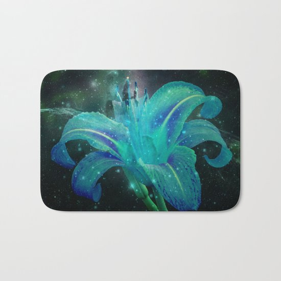 Turquoise Daylily in Space Bath Mat