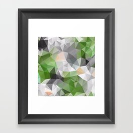 Grey green polygonal pattern Framed Art Print