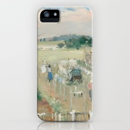 Hanging the Laundry out to Dry by Berthe Morisot iPhone Case