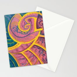 Song of Seashell Abstract Art Pink Yellow Teal Turquoise Stationery Cards