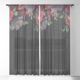Vintage & Shabby Chic - Night Antique Redoute Roses Frame On Black Sheer Curtain