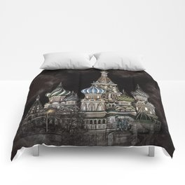 Saint Basil's Cathedral - red sky, Moscow, Russia Comforters
