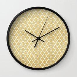 Mermaid Tail Pattern  |  Gold Glitter Wall Clock