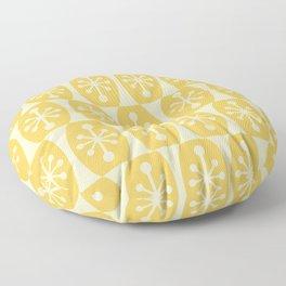 Mid Century Modern Atomic Fusion Pattern 334 Yellow on Yellow Floor Pillow