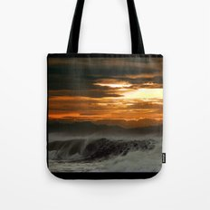 Winter Shorebreak at Sunset Tote Bag