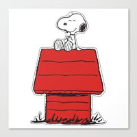 snoopy Canvas Prints featuring Snoopy by Simple Touch Apparel