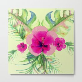Pink hibiscus with tropic leaves Metal Print