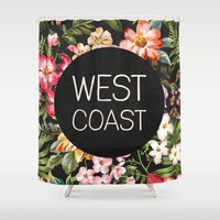 west coast Shower Curtains featuring West Coast by Text Guy