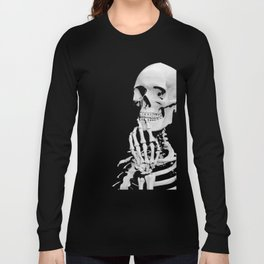 Thinking Skeleton (Black and White) Long Sleeve T-shirt