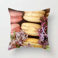 macaroons Throw Pillows featuring Pretty Macaroons by Olivia Joy StClaire